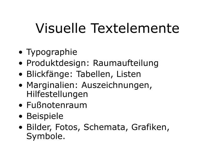 Visuelle Textelemente
