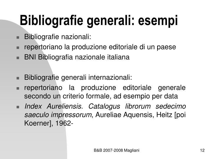 Bibliografie generali: esempi