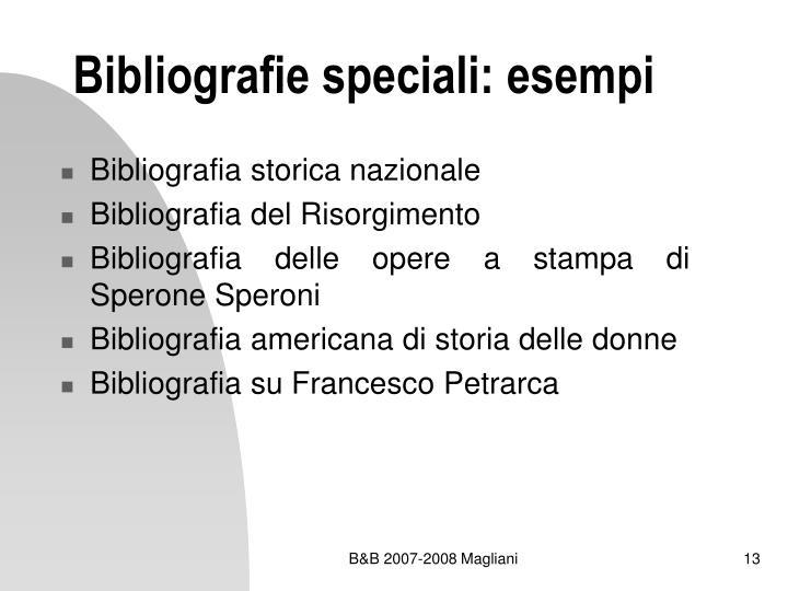 Bibliografie speciali: esempi