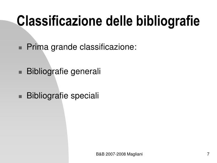 Classificazione delle bibliografie