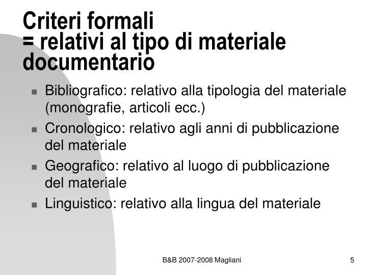 Criteri formali
