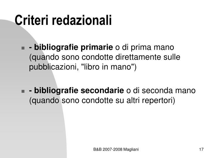 Criteri redazionali
