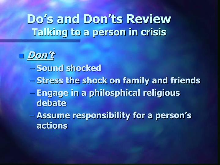 Do's and Don'ts Review