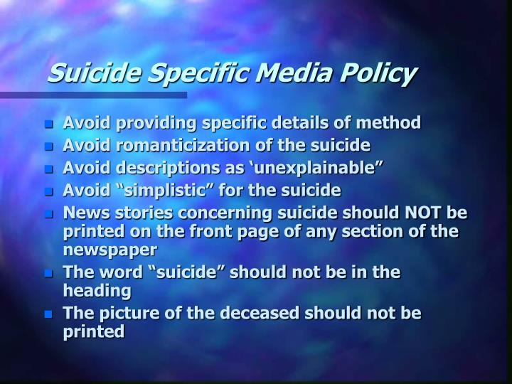 Suicide Specific Media Policy