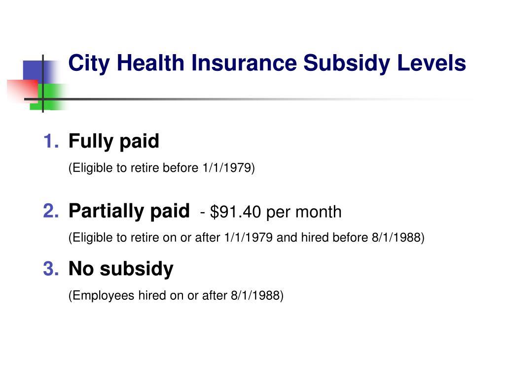 City Health Insurance Subsidy Levels