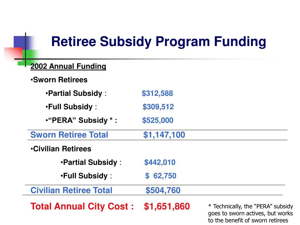 Retiree Subsidy Program Funding