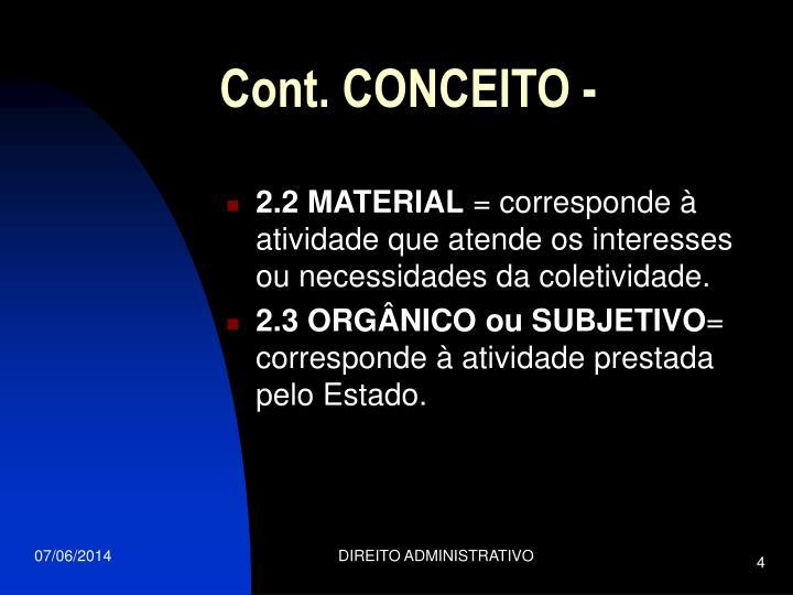 Cont. CONCEITO -