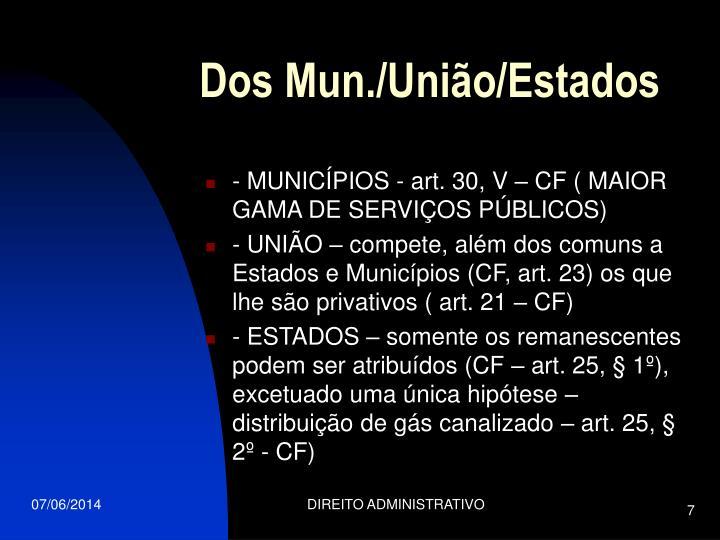 Dos Mun./União/Estados