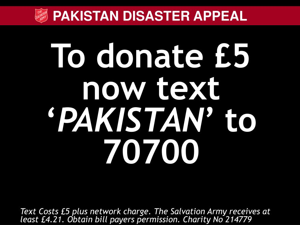 To donate £5 now text '