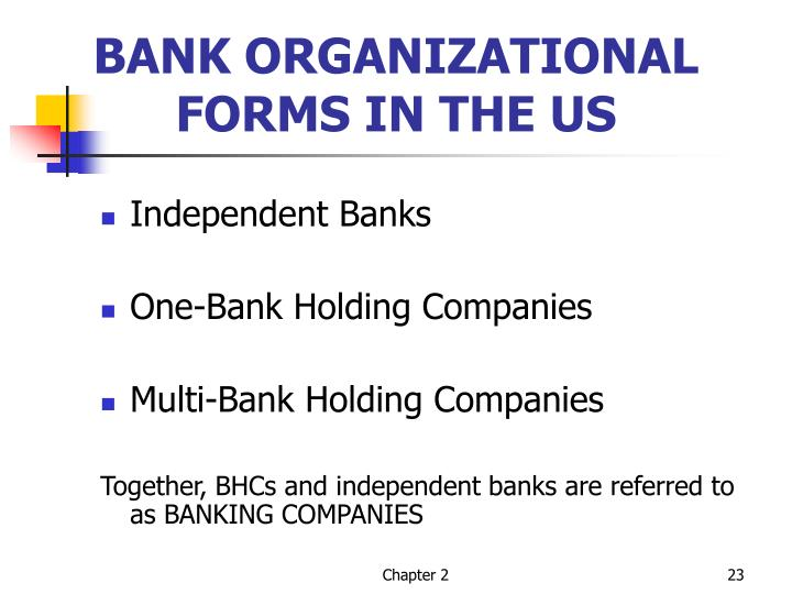 BANK ORGANIZATIONAL FORMS IN THE US