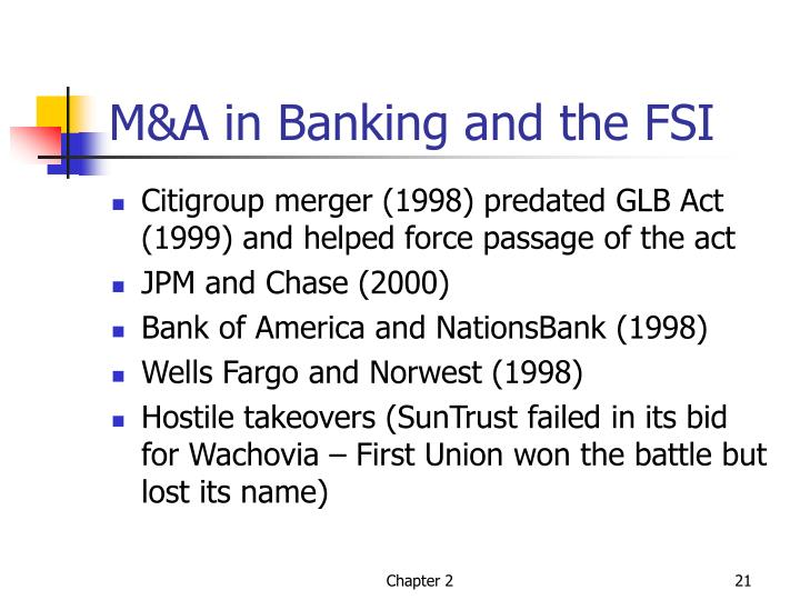 M&A in Banking and the FSI
