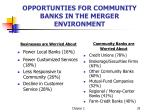 opportunties for community banks in the merger environment