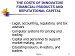 the costs of innovative financial products and reputational capital