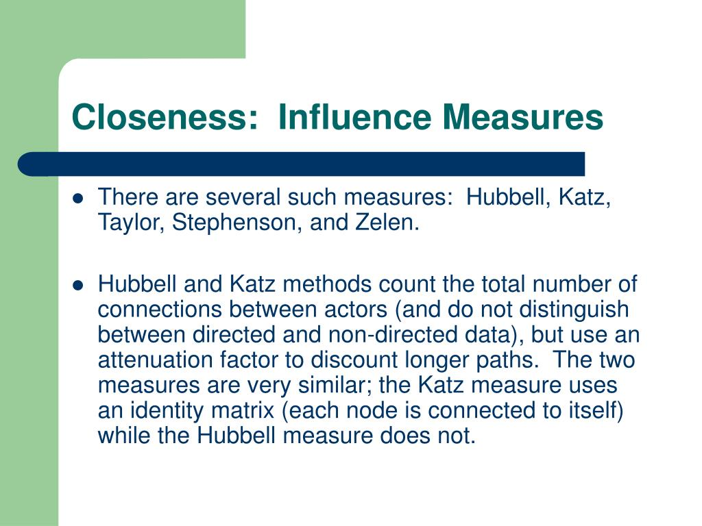 Closeness:  Influence Measures