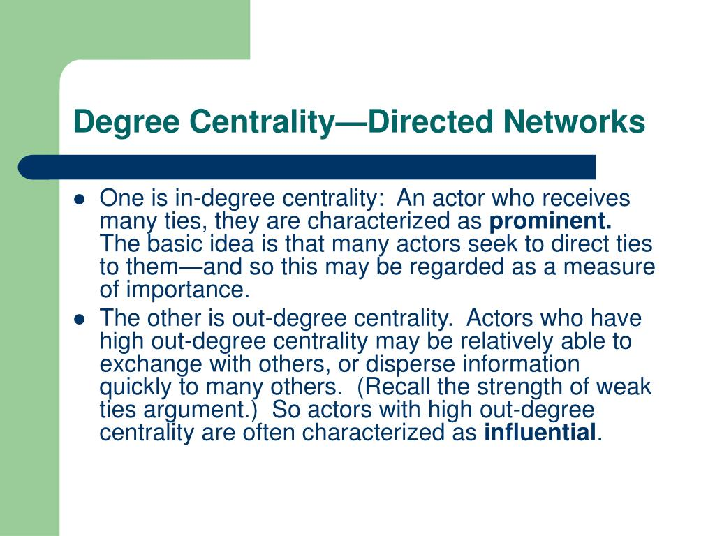 Degree Centrality—Directed Networks