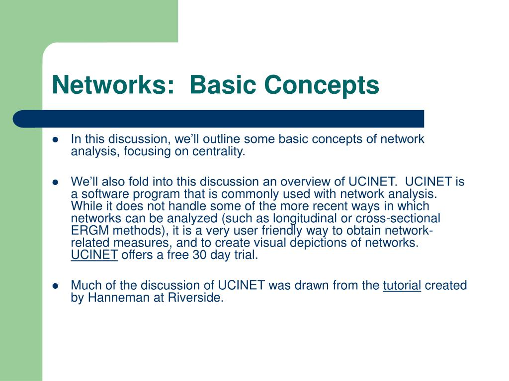 Networks:  Basic Concepts