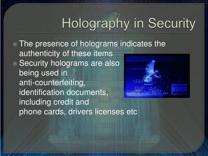 Holography in Security