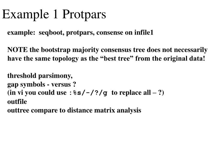 Example 1 Protpars