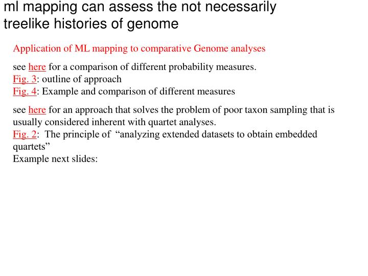 ml mapping can assess the not necessarily treelike histories of genome