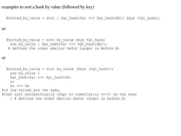 examples to sort a hash by value (followed by key)