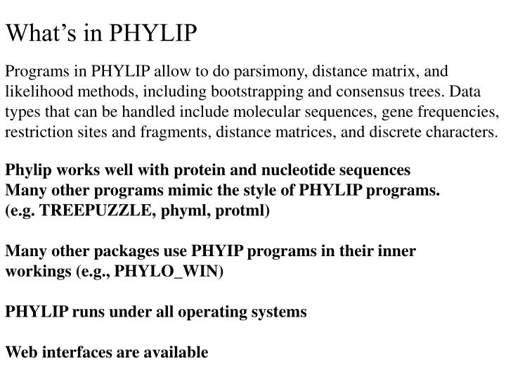 What's in PHYLIP