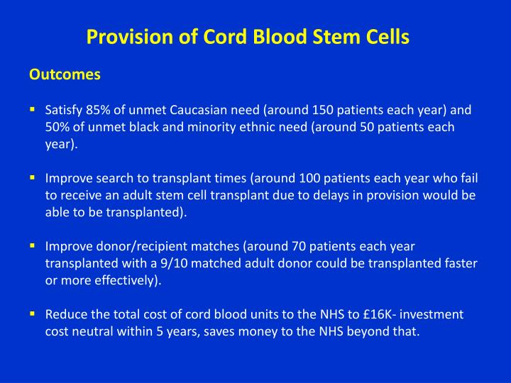Provision of Cord Blood Stem Cells
