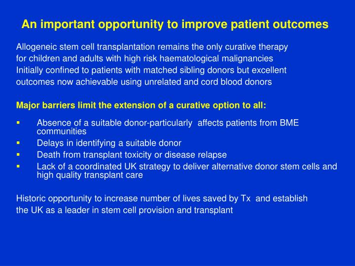 An important opportunity to improve patient outcomes