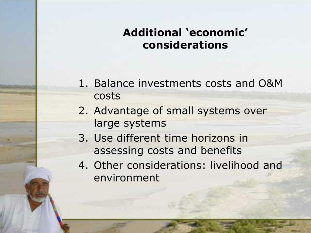 Additional 'economic' considerations