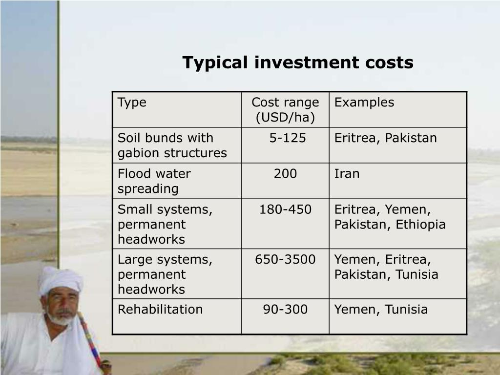 Typical investment costs