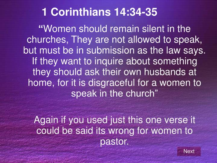 1 Corinthians 14:34-35