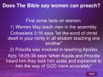does the bible say women can preach