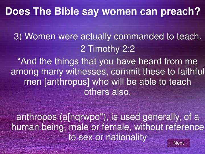 Does The Bible say women can preach?