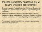polecane programy nauczania gry w szachy w szkole podstawowej