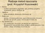 rodzaje metod nauczania prof krzysztof kruszewski