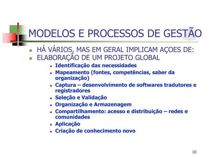 MODELOS E PROCESSOS DE GESTÃO