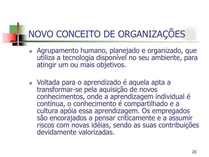 NOVO CONCEITO DE ORGANIZAÇÕES