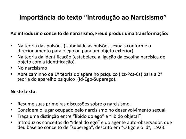 """Importância do texto """"Introdução ao Narcisismo"""""""