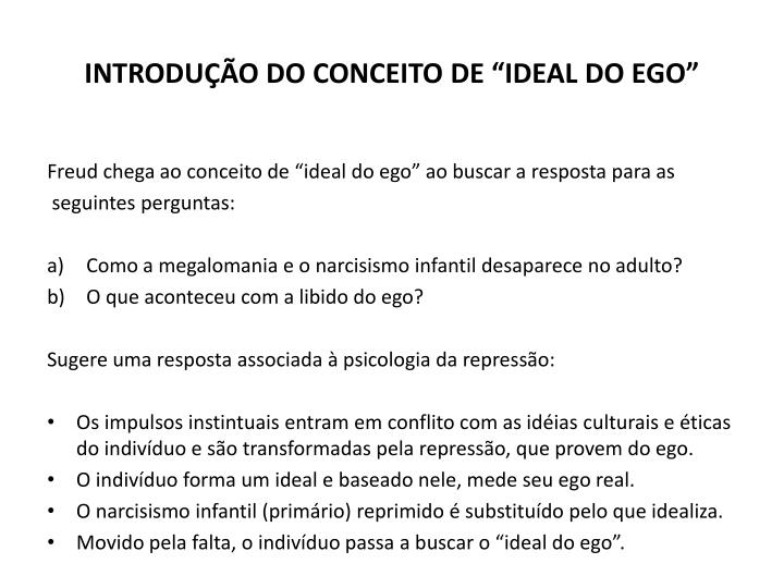 """INTRODUÇÃO DO CONCEITO DE """"IDEAL DO EGO"""""""