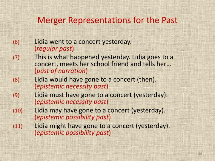 Merger Representations for the Past
