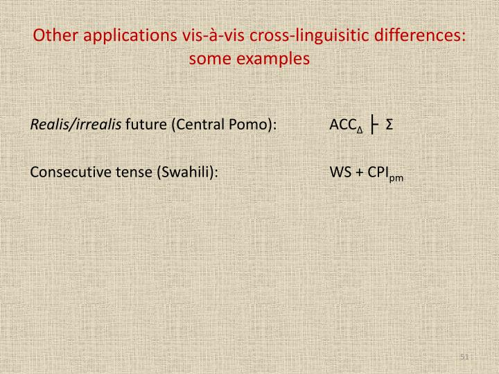 Other applications vis-à-vis cross-linguisitic differences: