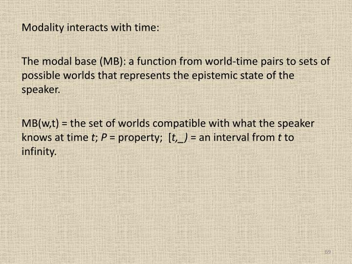 Modality interacts with time:
