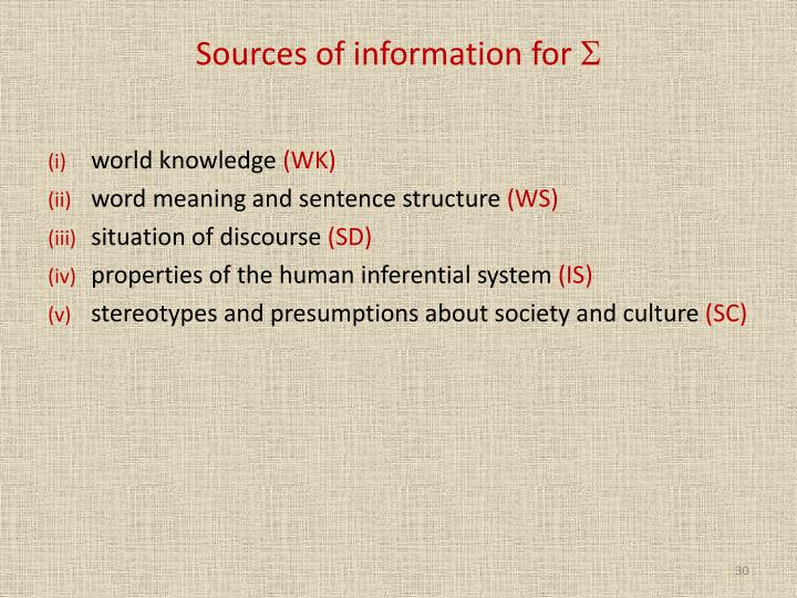 Sources of information for