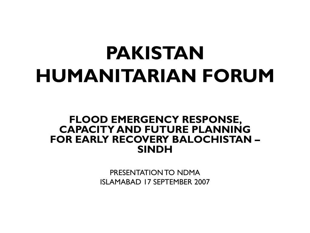 PAKISTAN HUMANITARIAN FORUM