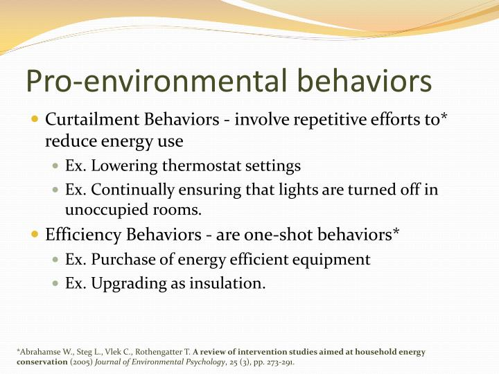 Pro-environmental behaviors
