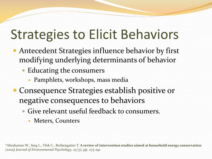 Strategies to Elicit Behaviors