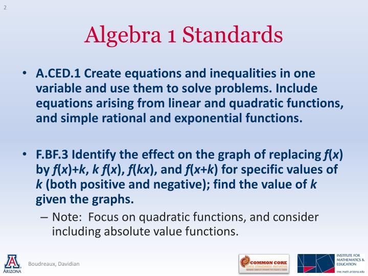 A.CED.1 Create equations and inequalities in one variable and use them to solve problems. Include equations arising from linear and quadratic functions, and simple rational and exponential functions.