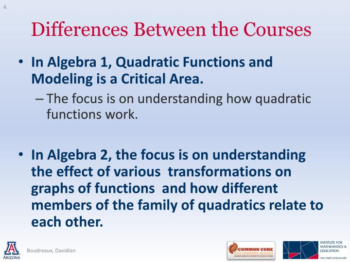 In Algebra 1, Quadratic Functions and Modeling is a Critical Area.