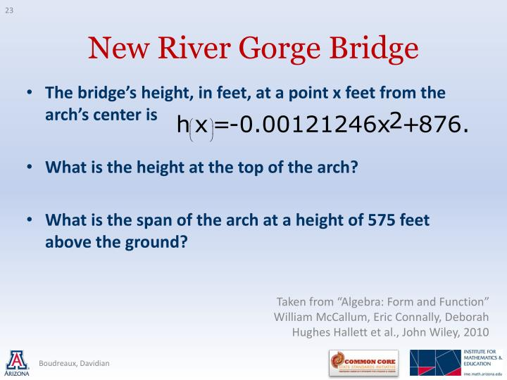 The bridge's height, in feet, at a point x feet from the arch's center is