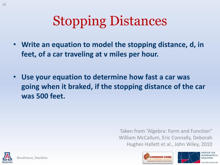 Write an equation to model the stopping distance, d, in feet, of a car traveling at v miles per hour.