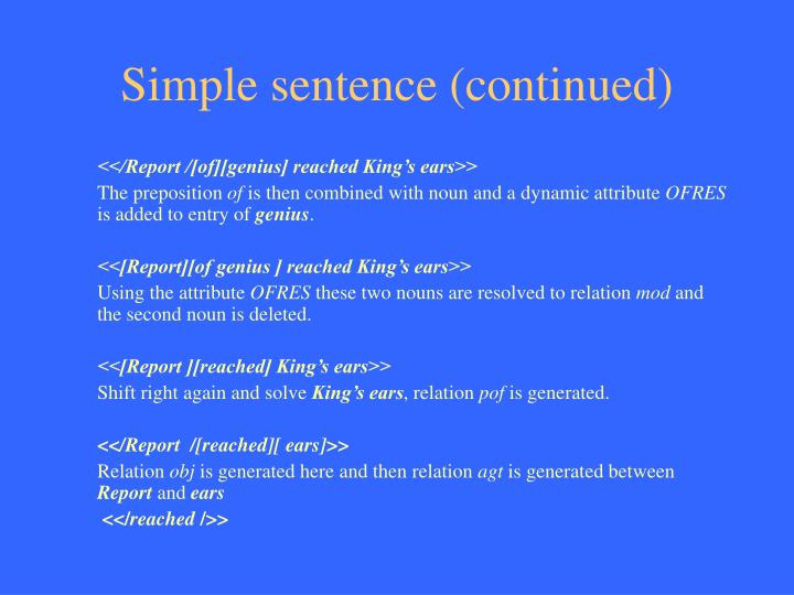 Simple sentence (continued)